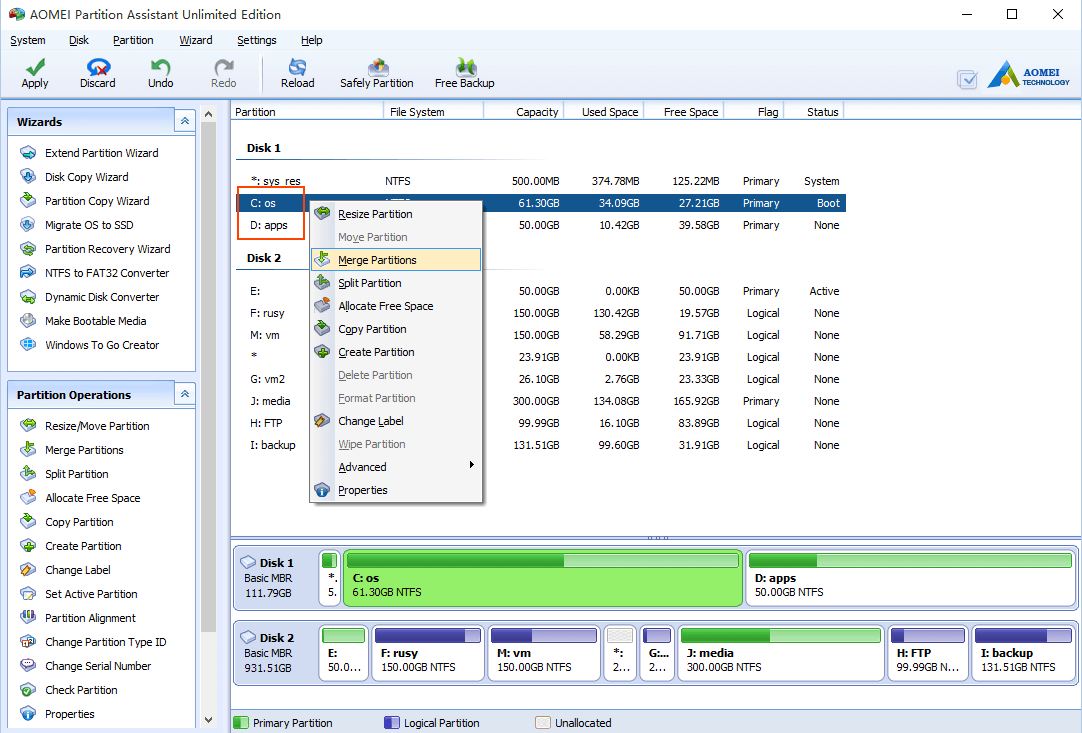 how to merge to partitions